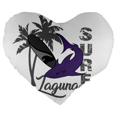 Surf   Laguna Large 19  Premium Flano Heart Shape Cushions by Valentinaart