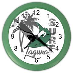Surf   Laguna Color Wall Clocks by Valentinaart