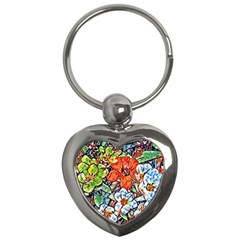 Hot Flowers 02 Key Chains (heart)  by MoreColorsinLife