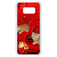 Cute, Playing Kitten With Hearts Samsung Galaxy S8 White Seamless Case by FantasyWorld7