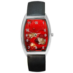 Cute, Playing Kitten With Hearts Barrel Style Metal Watch by FantasyWorld7
