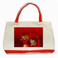 Cute, Playing Kitten With Hearts Classic Tote Bag (red) by FantasyWorld7