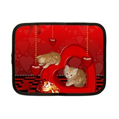 Cute, Playing Kitten With Hearts Netbook Case (small)  by FantasyWorld7