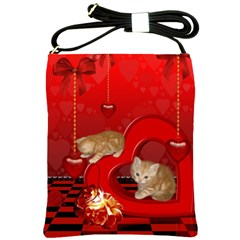 Cute, Playing Kitten With Hearts Shoulder Sling Bags by FantasyWorld7