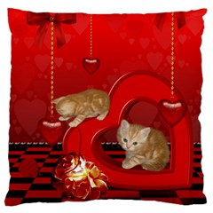 Cute, Playing Kitten With Hearts Large Cushion Case (two Sides) by FantasyWorld7