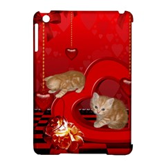Cute, Playing Kitten With Hearts Apple Ipad Mini Hardshell Case (compatible With Smart Cover) by FantasyWorld7