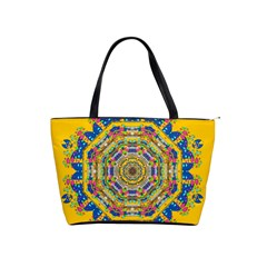 Happy Fantasy Earth Mandala Shoulder Handbags by pepitasart