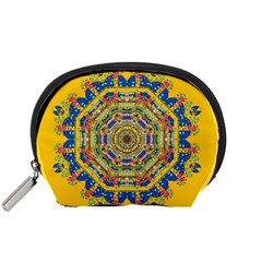 Happy Fantasy Earth Mandala Accessory Pouches (small)  by pepitasart