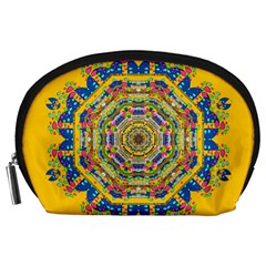 Happy Fantasy Earth Mandala Accessory Pouches (large)  by pepitasart