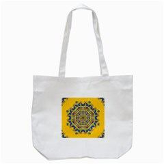 Happy Fantasy Earth Mandala Tote Bag (white) by pepitasart