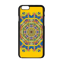 Happy Fantasy Earth Mandala Apple Iphone 6/6s Black Enamel Case by pepitasart
