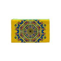 Happy Fantasy Earth Mandala Cosmetic Bag (xs) by pepitasart
