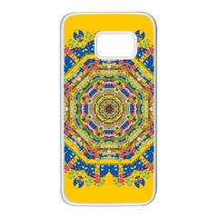 Happy Fantasy Earth Mandala Samsung Galaxy S7 White Seamless Case by pepitasart