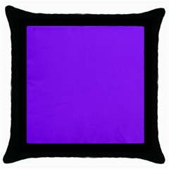Neon Purple Solid Color  Throw Pillow Case (black) by SimplyColor
