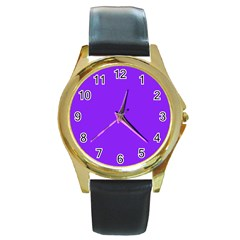 Neon Purple Solid Color  Round Gold Metal Watch by SimplyColor