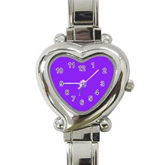 Neon Purple Solid Color  Heart Italian Charm Watch by SimplyColor