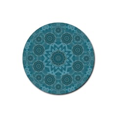 Wood And Stars In The Blue Pop Art Rubber Round Coaster (4 Pack)  by pepitasart