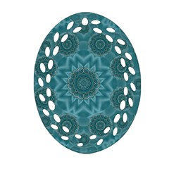 Wood And Stars In The Blue Pop Art Ornament (oval Filigree) by pepitasart