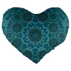 Wood And Stars In The Blue Pop Art Large 19  Premium Flano Heart Shape Cushions by pepitasart