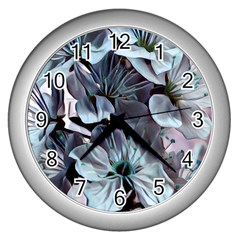 Wonderful Silky Flowers B Wall Clocks (silver)  by MoreColorsinLife