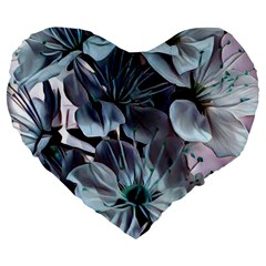 Wonderful Silky Flowers B Large 19  Premium Heart Shape Cushions by MoreColorsinLife