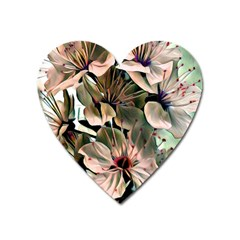 Wonderful Silky Flowers C Heart Magnet by MoreColorsinLife