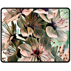 Wonderful Silky Flowers C Double Sided Fleece Blanket (medium)  by MoreColorsinLife
