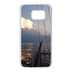 Sailing Into The Storm Samsung Galaxy S7 White Seamless Case by oddzodd