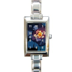 Flower Rectangle Italian Charm Watch by oddzodd