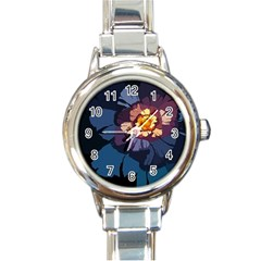 Flower Round Italian Charm Watch by oddzodd