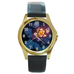 Flower Round Gold Metal Watch by oddzodd
