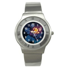 Flower Stainless Steel Watch by oddzodd