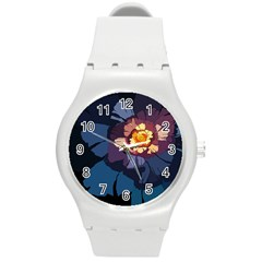 Flower Round Plastic Sport Watch (m) by oddzodd