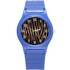 Skin4 Black Marble & Bronze Metal Round Plastic Sport Watch (s) by trendistuff