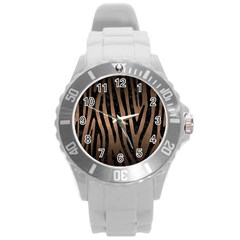 Skin4 Black Marble & Bronze Metal Round Plastic Sport Watch (l) by trendistuff