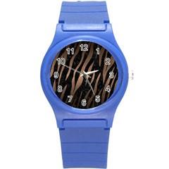 Skin3 Black Marble & Bronze Metal Round Plastic Sport Watch (s) by trendistuff