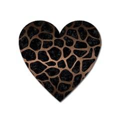 Skin1 Black Marble & Bronze Metal (r) Magnet (heart) by trendistuff