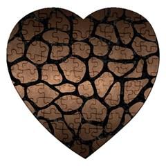 Skin1 Black Marble & Bronze Metal Jigsaw Puzzle (heart) by trendistuff