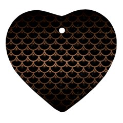 Scales3 Black Marble & Bronze Metal Ornament (heart) by trendistuff