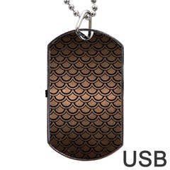 Scales2 Black Marble & Bronze Metal (r) Dog Tag Usb Flash (one Side) by trendistuff