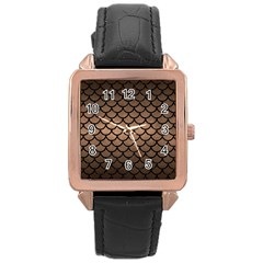 Scales1 Black Marble & Bronze Metal (r) Rose Gold Leather Watch  by trendistuff
