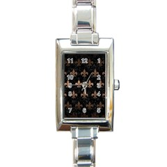 Royal1 Black Marble & Bronze Metal (r) Rectangle Italian Charm Watch by trendistuff