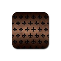 Royal1 Black Marble & Bronze Metal Rubber Square Coaster (4 Pack) by trendistuff