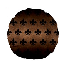 Royal1 Black Marble & Bronze Metal Standard 15  Premium Round Cushion  by trendistuff