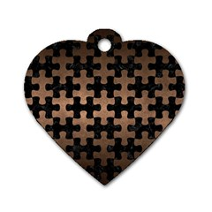 Puzzle1 Black Marble & Bronze Metal Dog Tag Heart (one Side)
