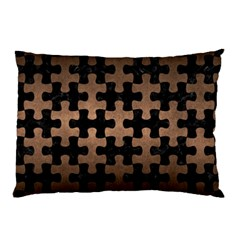 Puzzle1 Black Marble & Bronze Metal Pillow Case by trendistuff