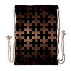 Puzzle1 Black Marble & Bronze Metal Drawstring Bag (large) by trendistuff