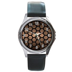 Hexagon2 Black Marble & Bronze Metal (r) Round Metal Watch by trendistuff