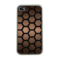 Hexagon2 Black Marble & Bronze Metal (r) Apple Iphone 4 Case (clear) by trendistuff