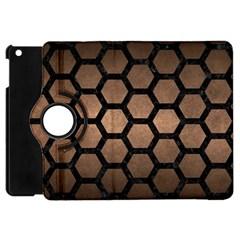 Hexagon2 Black Marble & Bronze Metal (r) Apple Ipad Mini Flip 360 Case by trendistuff